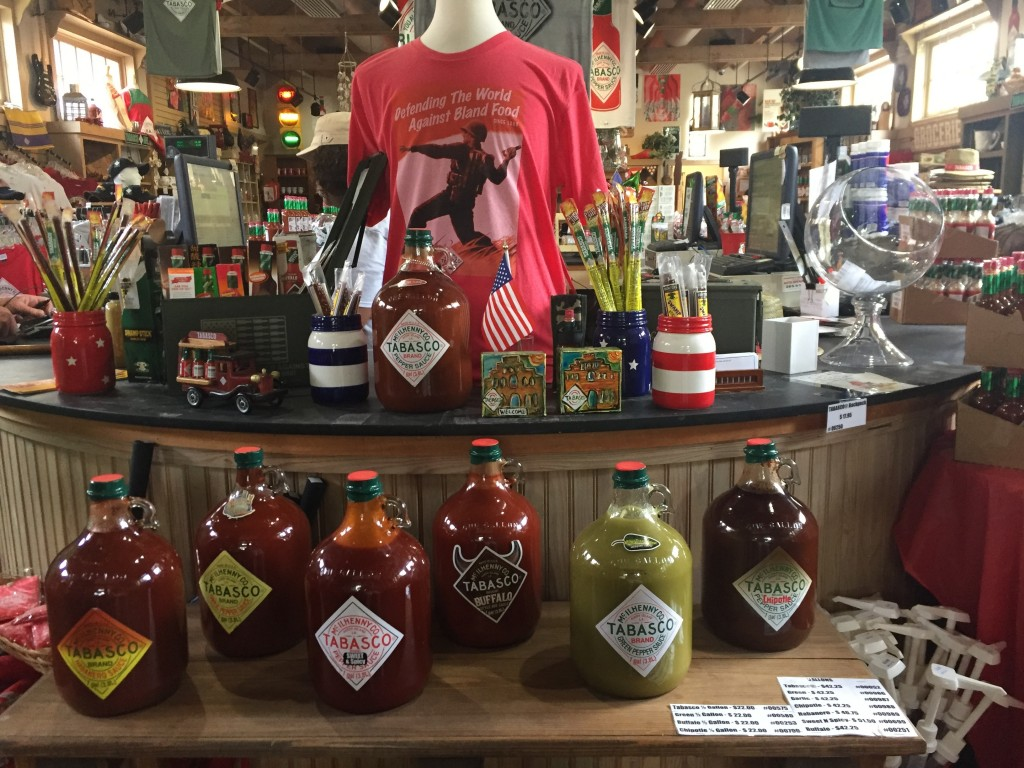 This June 4, 2018 photo shows a display of Tabasco-related products and gifts in the store on Avery Island in Louisiana that's part of the complex whe