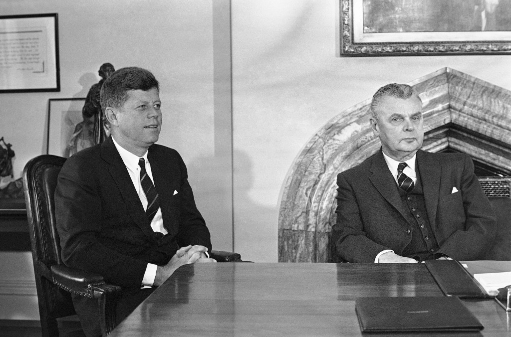 FILE - In this May 17, 1961 file photo, U.S. President John Kennedy and Prime Minister John Diefenbaker meet to begin talks on U.S. and Canadian probl