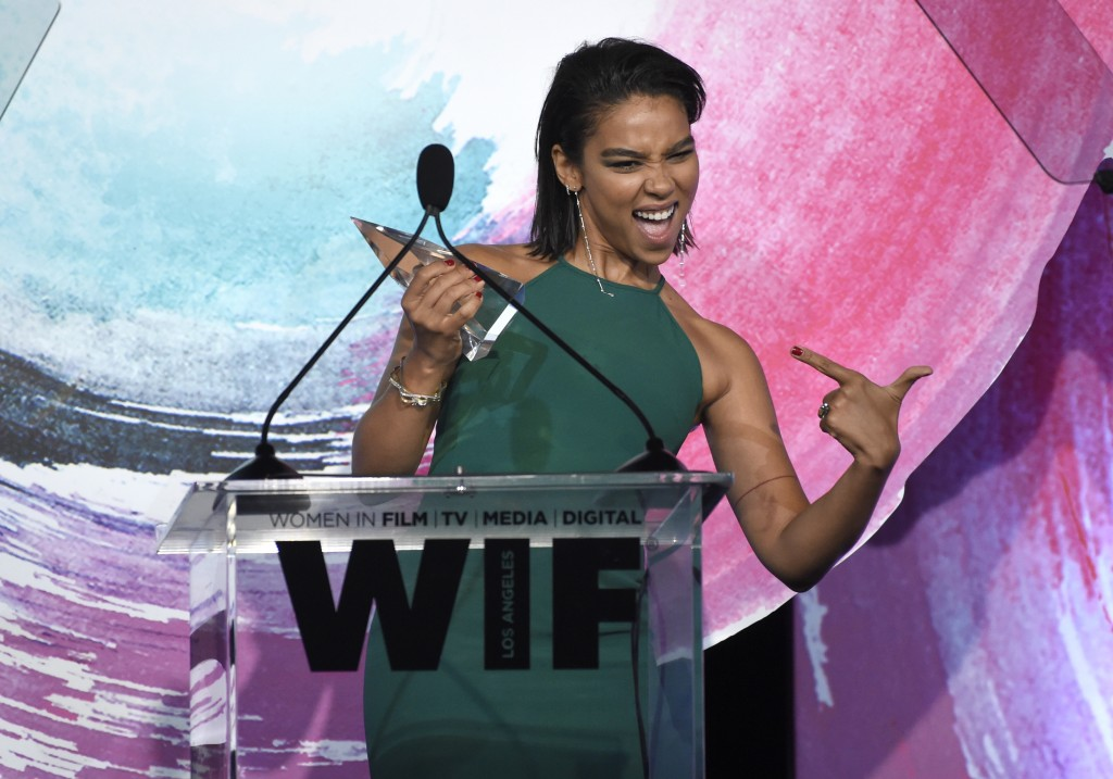 Alexandra Shipp accepts the face of the future award at the Women In Film Crystal and Lucy Awards at the Beverly Hilton Hotel on Wednesday, June 13, 2