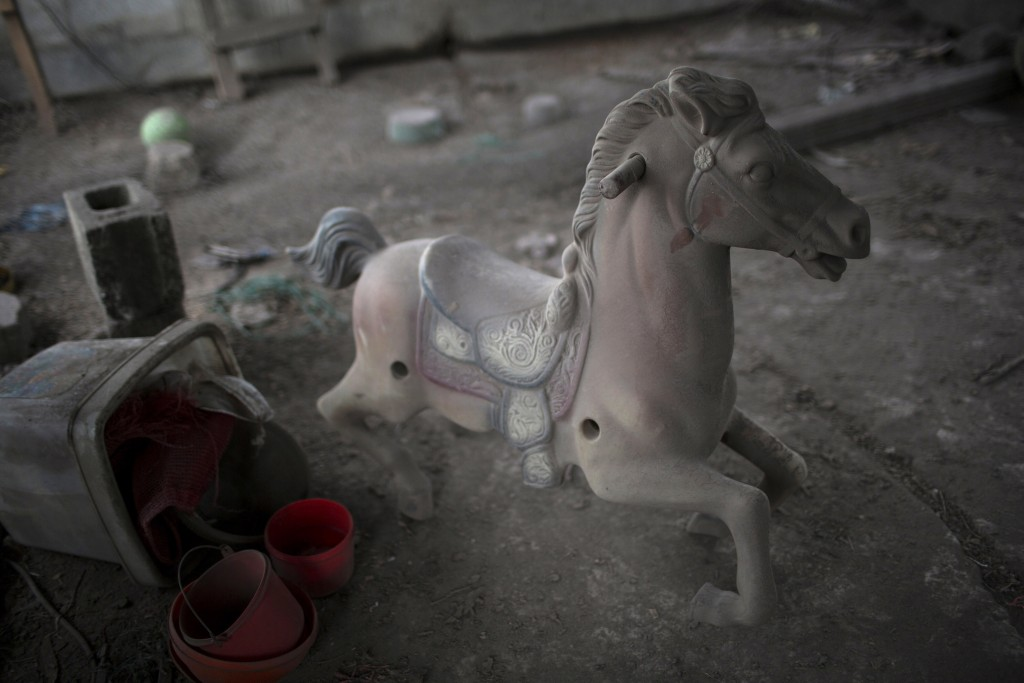 This June 8, 2018 photo shows a spring pony dusted with volcanic ash spewed by the Volcan de Fuego or Volcano of Fire, on the balcony of a home in San