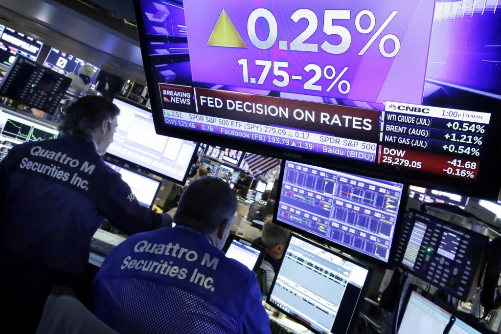 FILE- In this June 13, 2018, file photo a television screen on the floor of the New York Stock Exchange shows the rate decision of the Federal Reserve