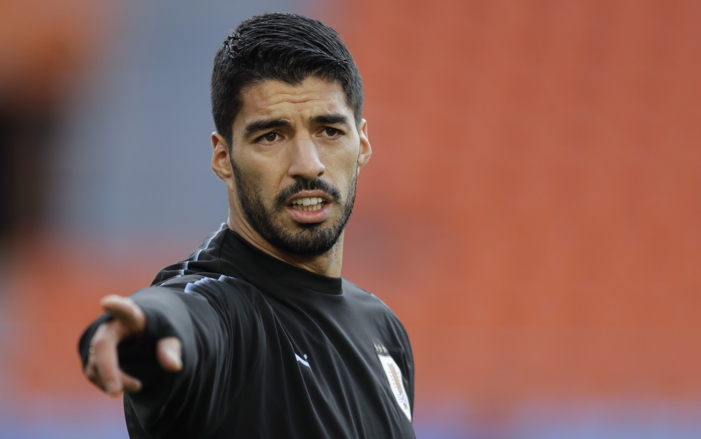 Uruguay's Luis Suarez gestures during Uruguay's official training on the eve of the group A match between Egypt and Uruguay at the 2018 soccer World C