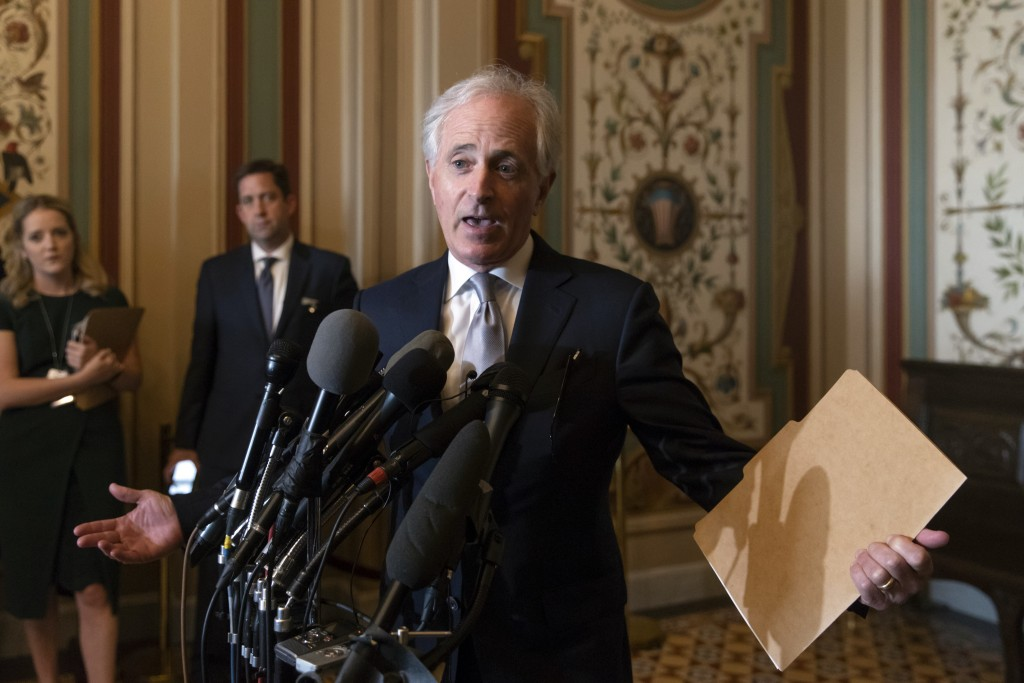 Senate Foreign Relations Committee Chairman Bob Corker, R-Tenn., speaks to reporters after meeting with Canada's Minister of Foreign Affairs Chrystia