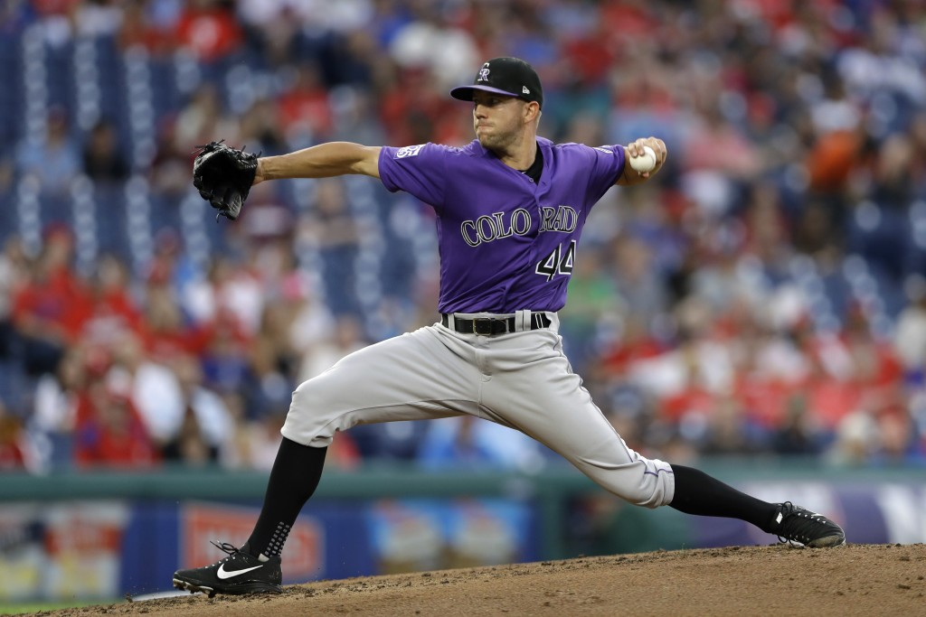 Colorado Rockies' Tyler Anderson pitches during the third inning of the team's baseball game against the Philadelphia Phillies, Wednesday, June 13, 20...