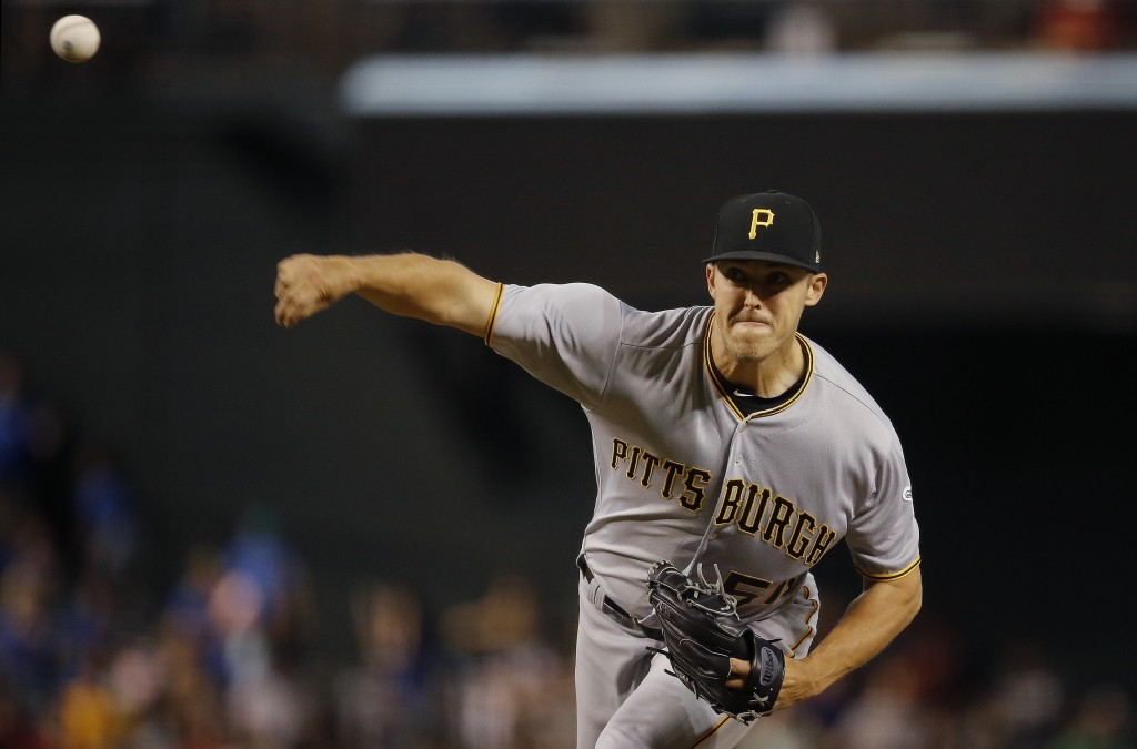 Pittsburgh Pirates starting pitcher Jameson Taillon throws a pitch against the Arizona Diamondbacks during the first inning of a baseball game Wednesd
