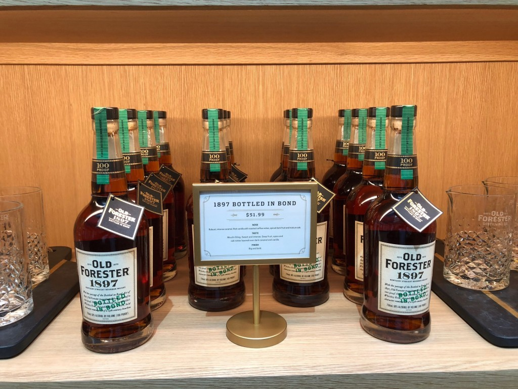 In this Thursday, June 7, 2018, photo, bottles of Kentucky straight bourbon whisky are displayed at Old Forester Distilling Co. in downtown Louisville