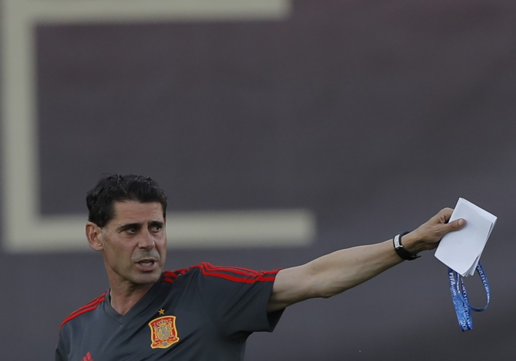 Spain's new coach Fernando Hierro gestures during a training session of Spain at the 2018 soccer World Cup in Krasnodar, Russia, Wednesday, June 13, 2