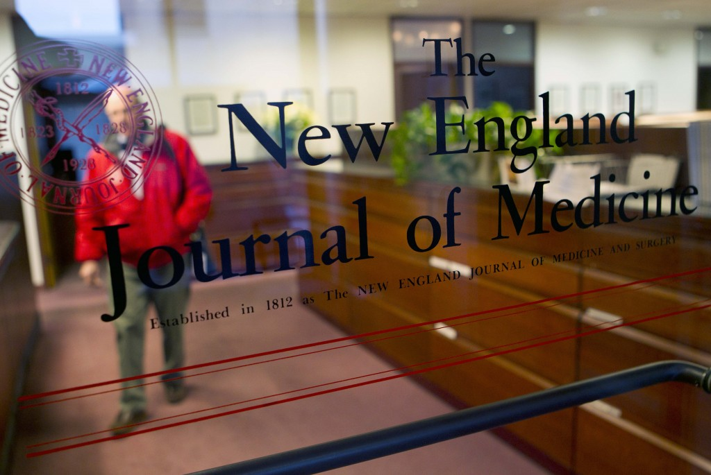 FILE - This Dec. 29, 2011 file photo shows the entrance to the editorial offices of the New England Journal of Medicine in Boston. On Wednesday, June