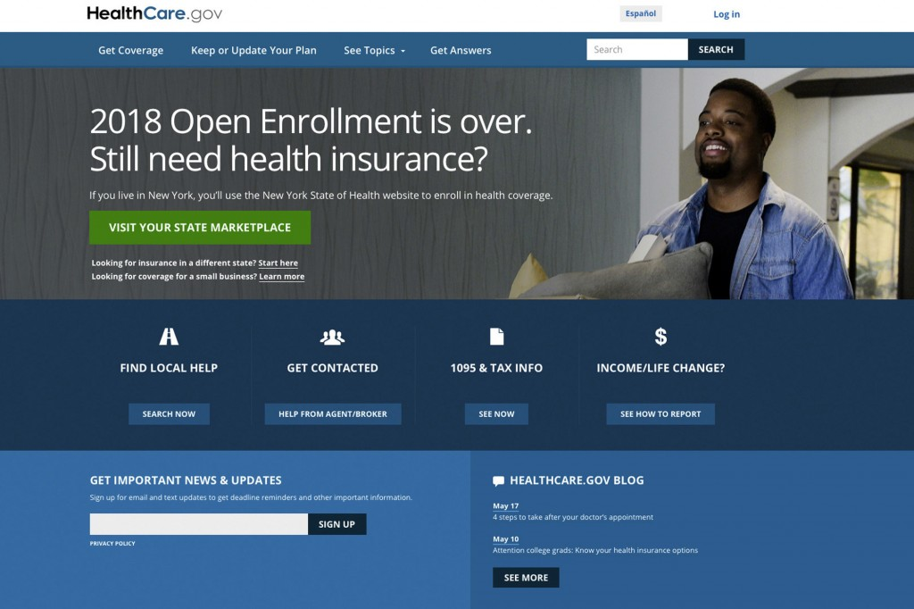 FILE - This May 21, 2018 image shows the main page of the healthcare.gov website in Washington. On Wednesday, June 13, 2018, two independent experts s