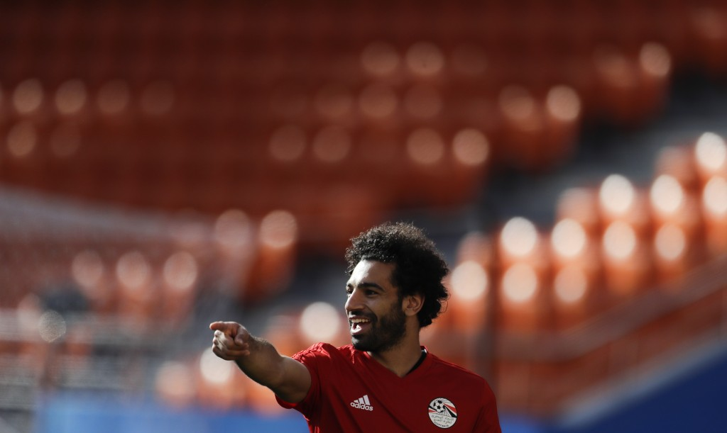 Egypt's Mohamed Salah gestures during Egypt's official training on the eve of the group A match between Egypt and Uruguay at the 2018 soccer World Cup