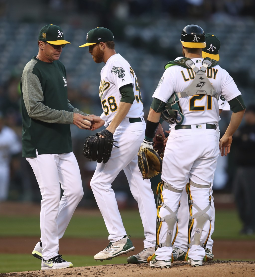 Oakland Athletics pitcher Paul Blackburn (58) hands the ball to manager Bob Melvin as he is removed during the second inning of the team's baseball ga