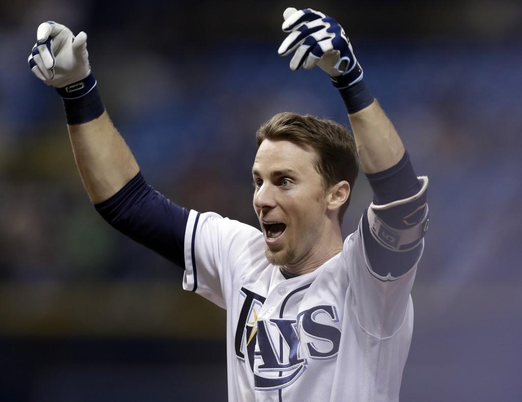Tampa Bay Rays' Matt Duffy celebrates his game-winning RBI single off Toronto Blue Jays relief pitcher Ryan Tepera in the ninth inning of a baseball g