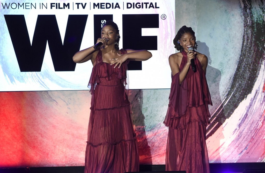 Chloe Bailey, left, and Halle Bailey, of Chloe x Halle, perform at the Women In Film Crystal and Lucy Awards at the Beverly Hilton Hotel on Wednesday,