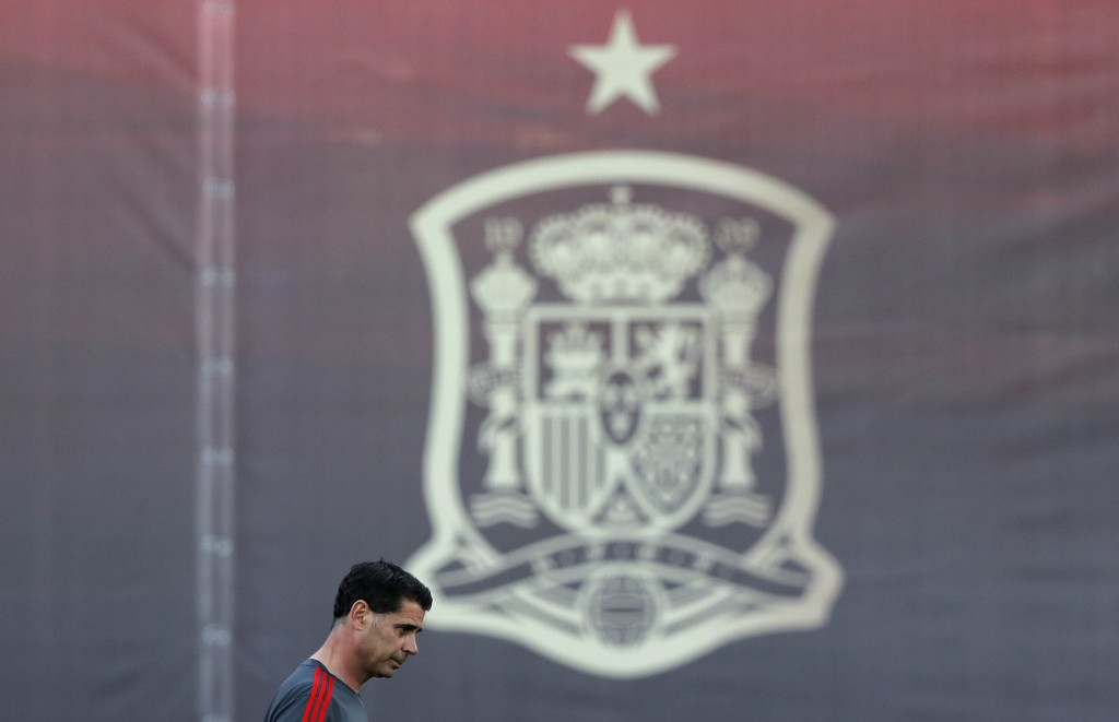 Spain's new coach Fernando Hierro attends a training session of Spain at the 2018 soccer World Cup in Krasnodar, Russia, Wednesday, June 13, 2018. (AP