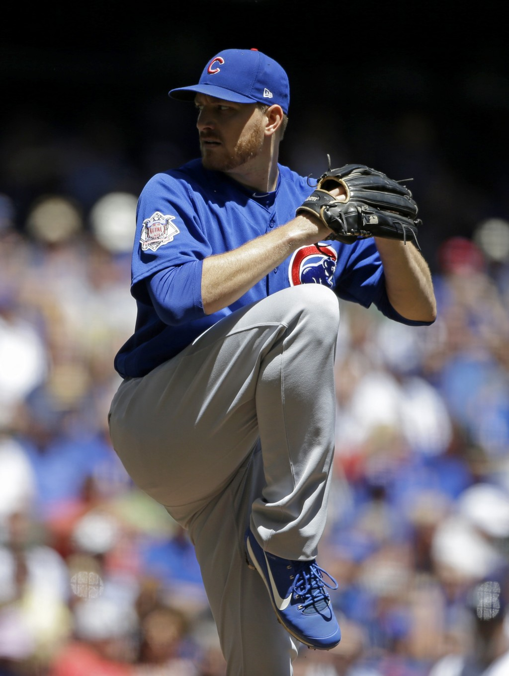 Chicago Cubs' Mike Montgomery pitches during the first inning of a baseball game against the Milwaukee Brewers Wednesday, June 13, 2018, in Milwaukee.