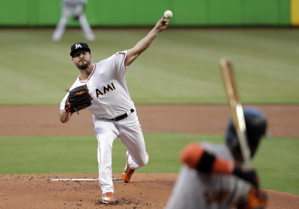 Miami Marlins starting pitcher Caleb Smith delivers during the first inning of the team's baseball game against the San Francisco Giants, Wednesday, J