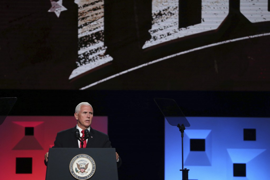Vice president Mike Pence speaks at the annual meeting of The Southern Baptist Convention at the Kay Bailey Hutchison Convention Center in Dallas Wedn