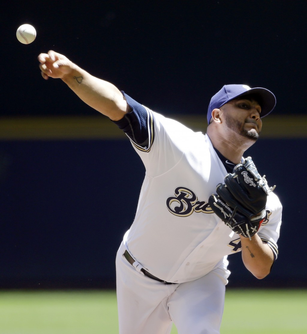 Milwaukee Brewers' Jhoulys Chacin pitches during the first inning of a baseball game against the Chicago Cubs Wednesday, June 13, 2018, in Milwaukee.