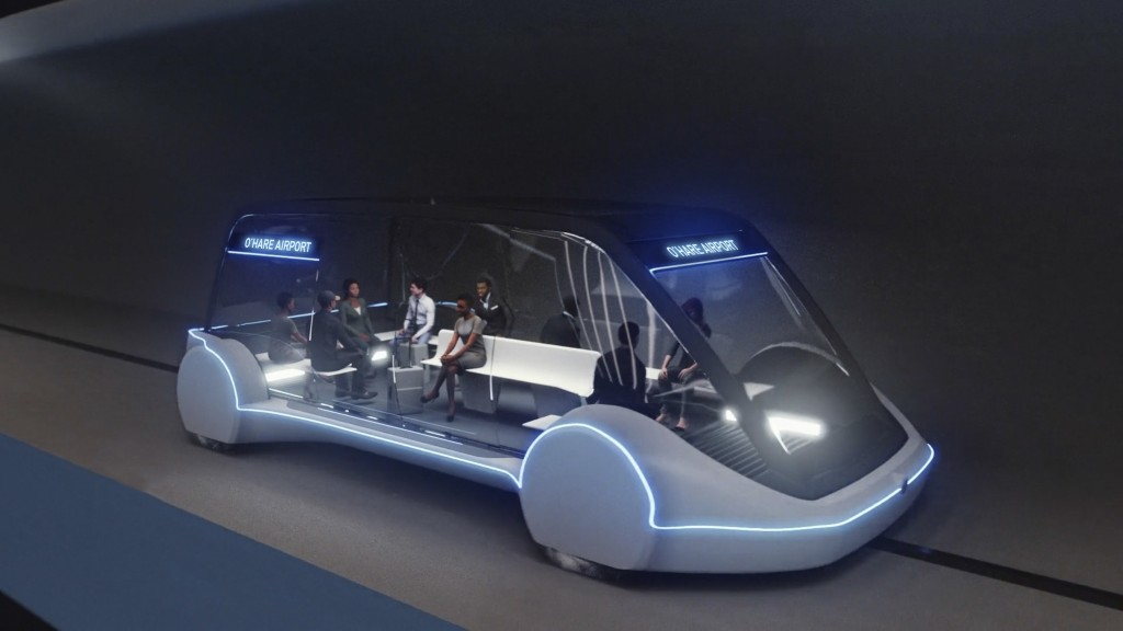 This undated artist's rendering provided by The Boring Company, shows an electric public transportation vehicle that is part of a proposed high-speed