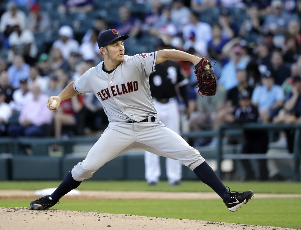 Cleveland Indians starting pitcher Trevor Bauer delivers during the first inning of the team's baseball game against the Chicago White Sox on Wednesda