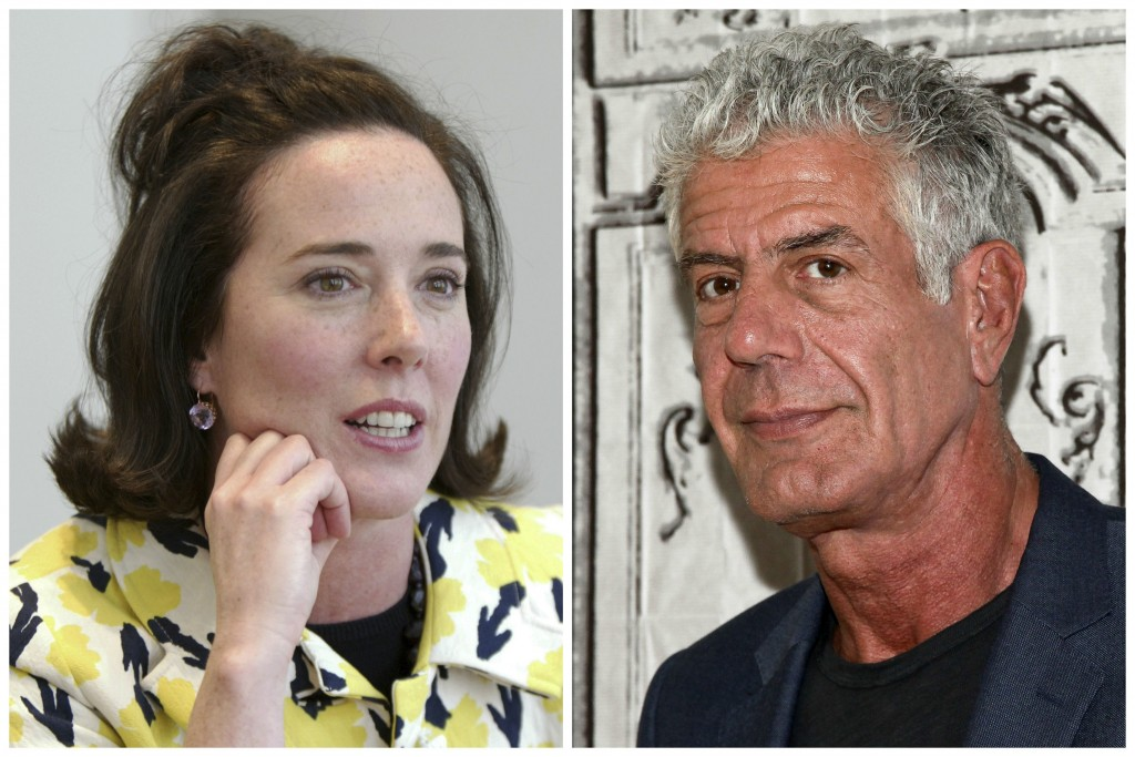 This combination of 2004 and 2016 file photos shows fashion designer Kate Spade and chef Anthony Bourdain in New York. The deaths of Spade and  Bourda