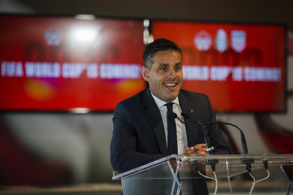 Canadian national team head coach John Herdman discusses the successful joint North American bid by Canada, the U.S. and Mexico to host the 2026 World