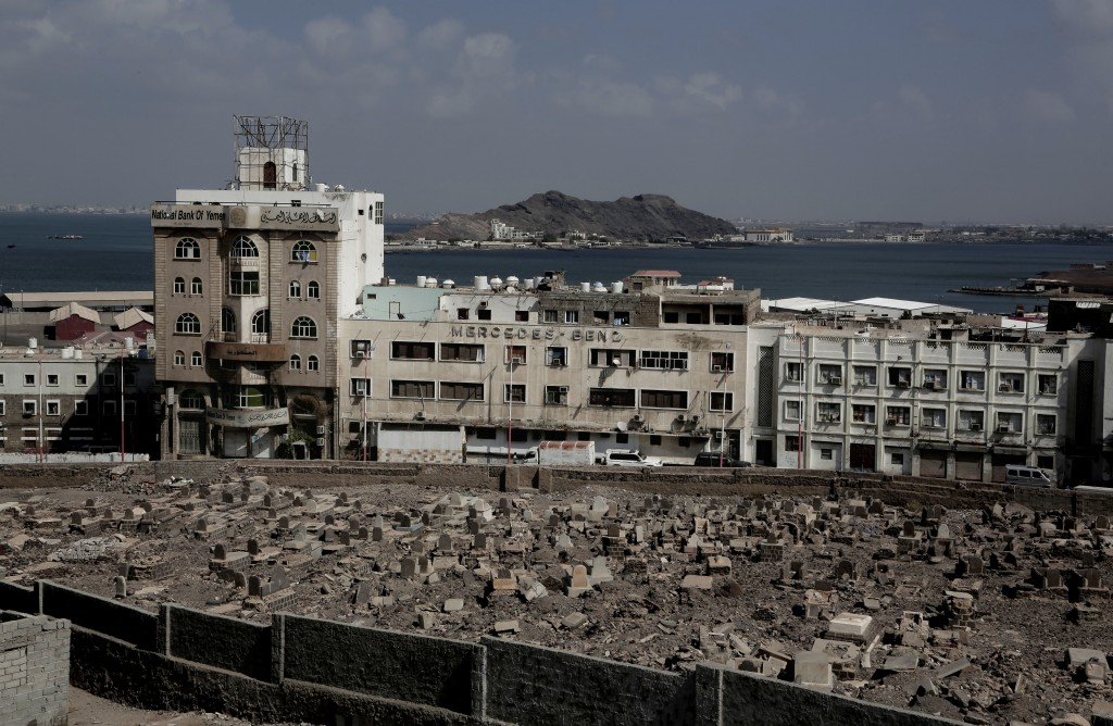 This Feb. 17, 2018, photo shows the Mercedes Benz building damaged in Aden, Yemen. Once a peg in a thriving commercial center that sprang up under col