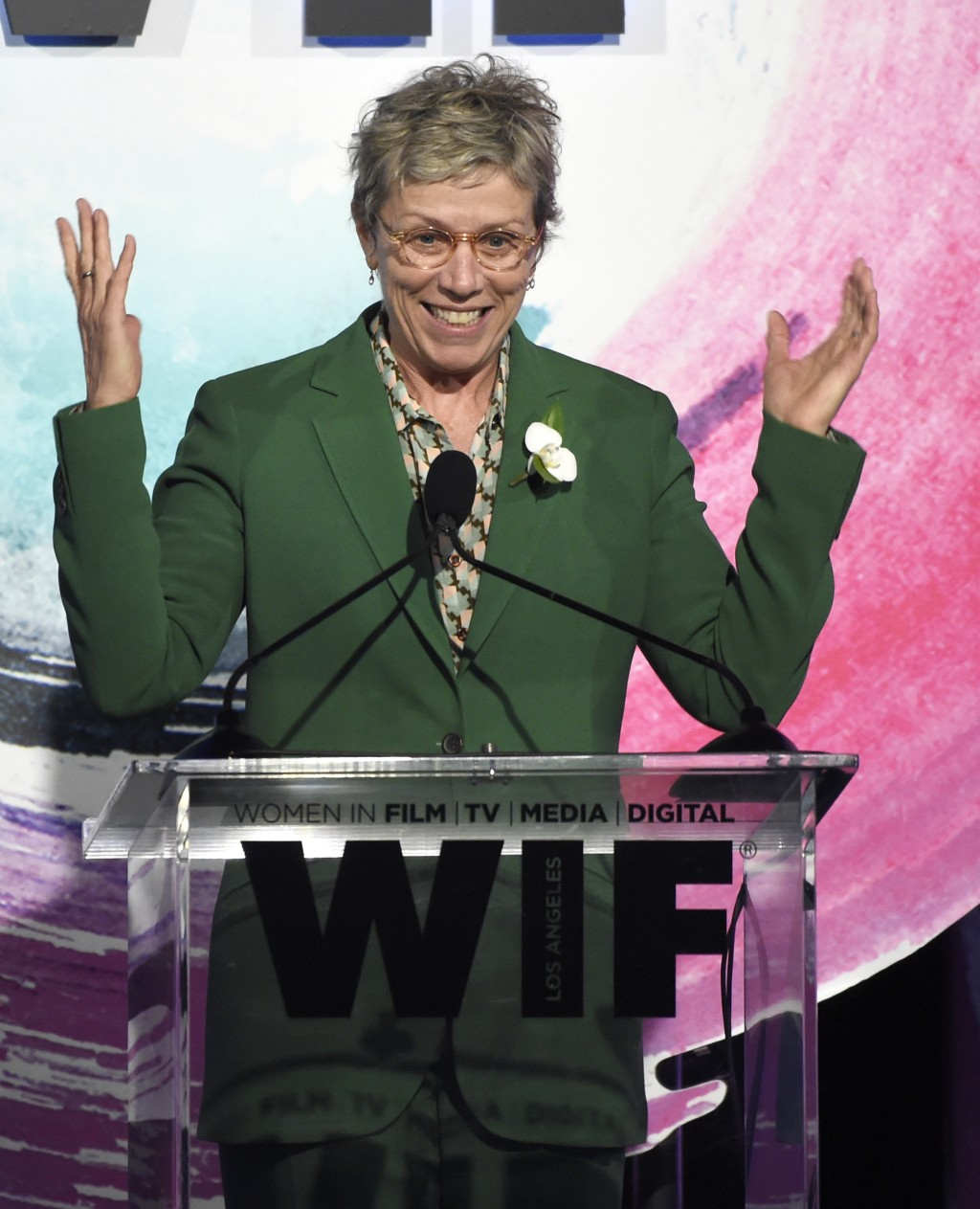 Frances McDormand speaks at the Women In Film Crystal and Lucy Awards at the Beverly Hilton Hotel on Wednesday, June 13, 2018, in Beverly Hills, Calif