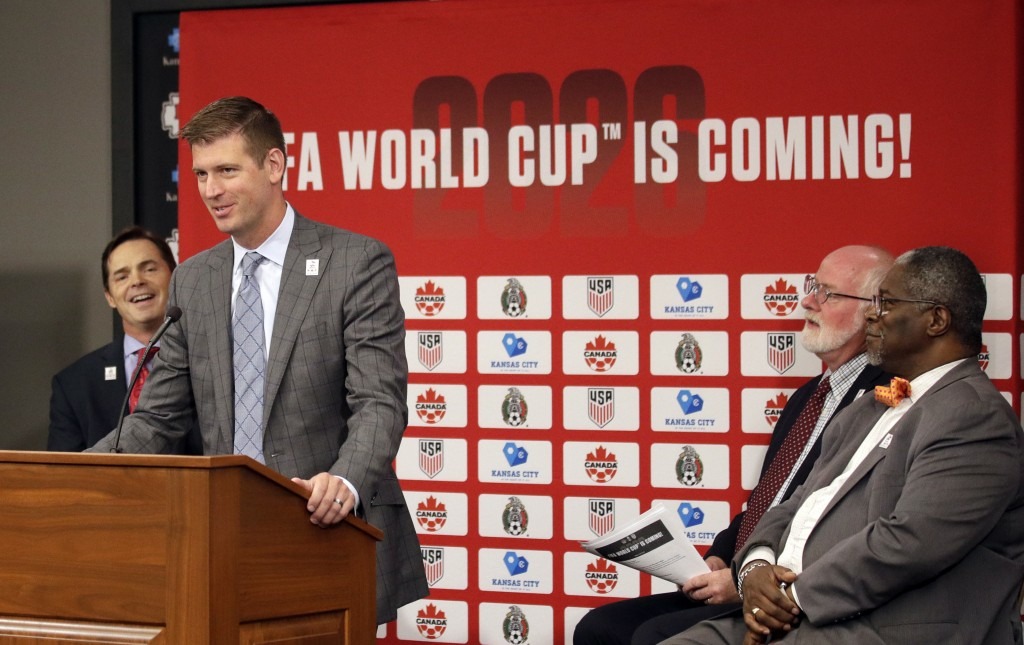 Sporting Kansas City President and CEO Jake Reid speaks during a news conference after North America's successful bid to land the 2026 World Cup, at A