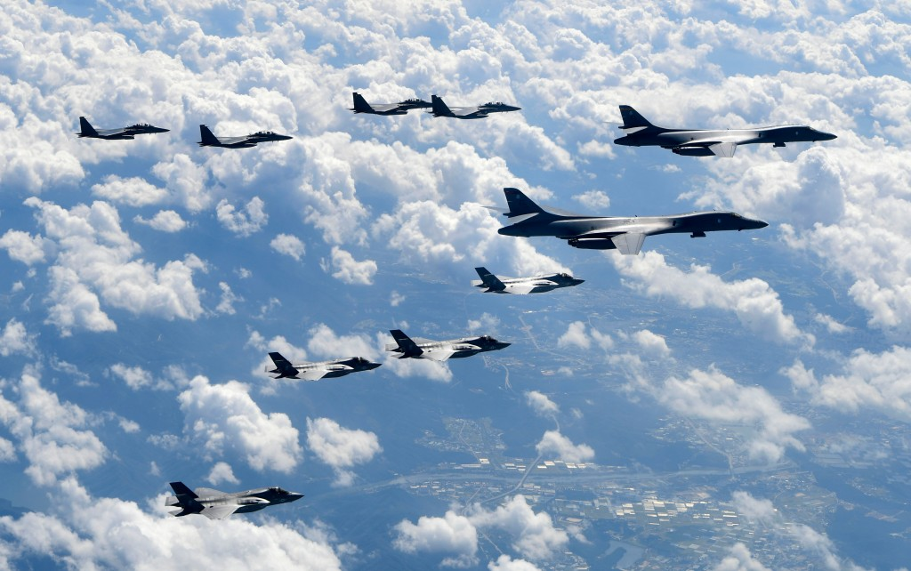 FILE - In this Sept. 18, 2017, file photo provided by South Korea Defense Ministry, U.S. Air Force B-1B bombers, F-35B stealth fighter jets and South ...