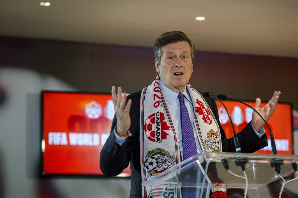 Toronto mayor John Tory discusses the successful joint North American bid by Canada, the U.S. and Mexico to host the 2026 World Cup at a press confere