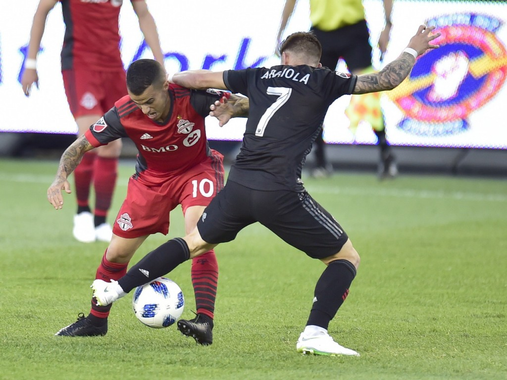 Toronto FC forward Sebastian Giovinco (10) battles for control of the ball with D.C. United forward Paul Arriola (7) during the first half of an MLS s