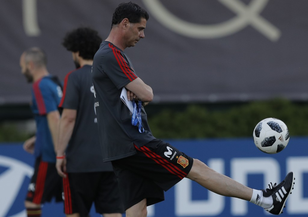 Spain's new coach Fernando Hierro controls the ball during a training session of Spain at the 2018 soccer World Cup in Krasnodar, Russia, Wednesday, J