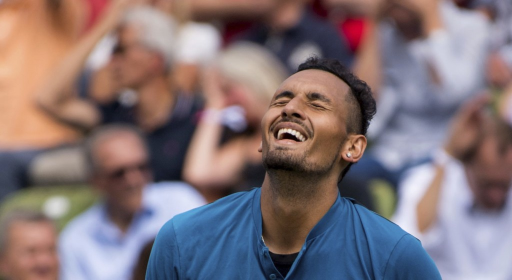 Nick Kyrgios reacts during the match against Maximilian Marterer at the ATP Mercedes Cup tournament in Stuttgart, Germany, Thursday, June 14, 2018. (M