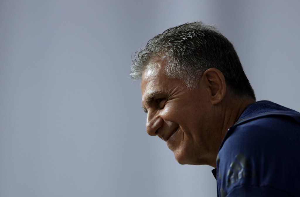 Iran head coach Carlos Queiroz, during a media conference of Iran on the eve of the group B match between Morocco and Iran at the 2018 soccer World Cu