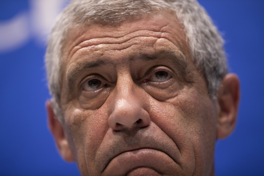 Portugal head coach Fernando Santos listens to a question during a news conference prior Portugal's official training on the eve of the group B match