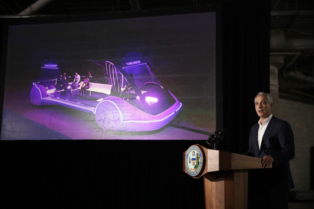 Mayor Rahm Emanuel speaks at a news conference Thursday, June 14, 2018, in Chicago. The Boring Company, founded by Tesla CEO Elon Musk, has been selec