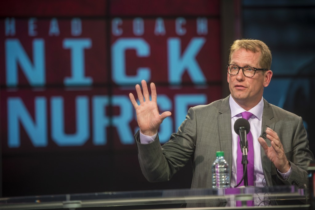 Nick Nurse is introduced as the new head coach of the Toronto Raptors  during NBA basketball press conference at the Air Canada Centre in Toronto on T