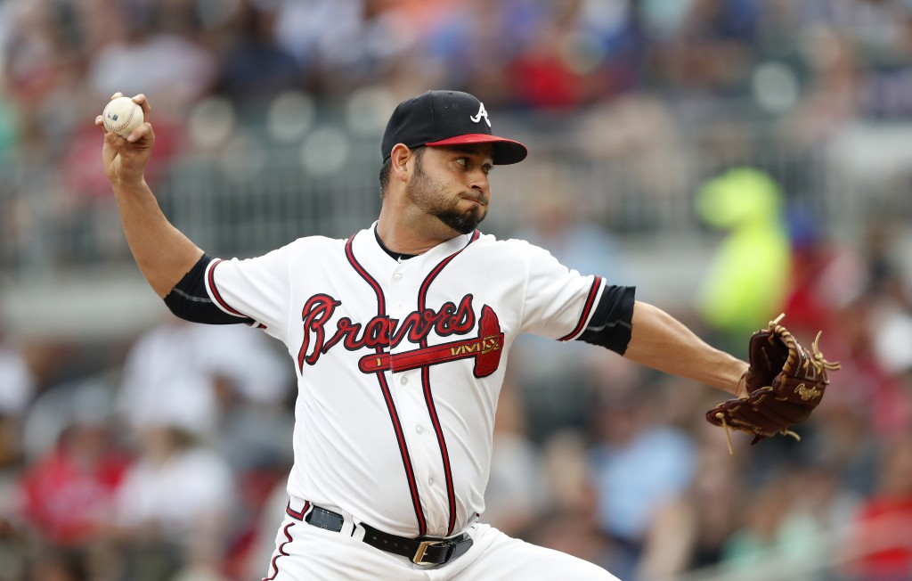Atlanta Braves starting pitcher Anibal Sanchez works in the first inning of the team's baseball game against the San Diego Padres Thursday, June 14, 2