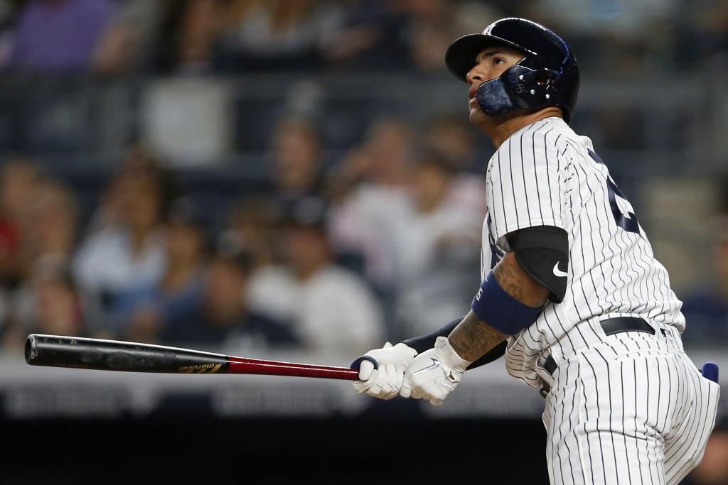 New York Yankees' Gleyber Torres watches his three-run home run against the Tampa Bay Rays during the fifth inning of a baseball game Thursday, June 1