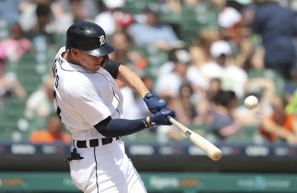 Detroit Tigers' JaCoby Jones connects for a two-run home run during the seventh inning of a baseball game against the Minnesota Twins, Thursday, June