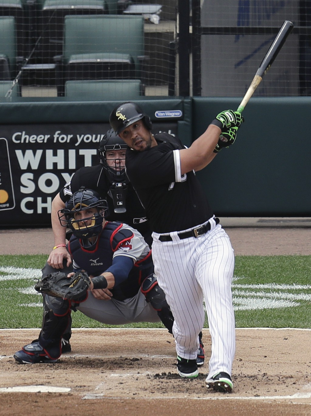 Chicago White Sox Jose Abreu hits a home run during the first inning of baseball game against the Cleveland Indians Thursday, June 14, 2018, in Chicag