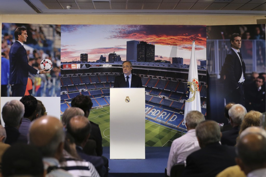 President of Real Madrid, Florentino Perez, speaks during the presentation of newly appointed Real Madrid coach Julen Lopetegui at a press conference