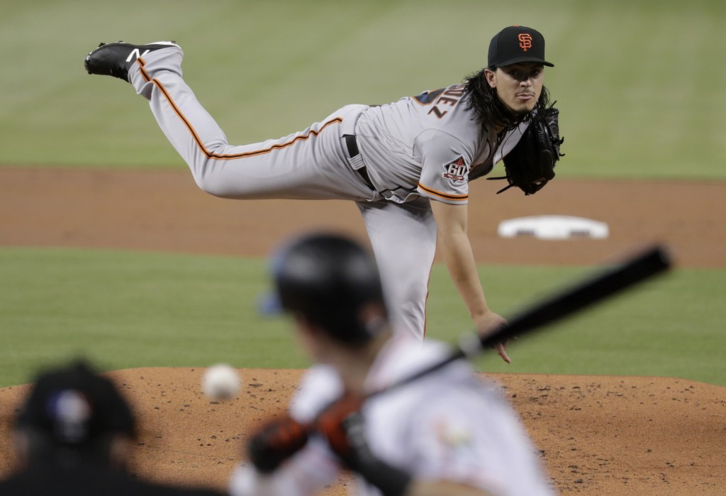 San Francisco Giants starting pitcher Dereck Rodriguez delivers during the first inning of a baseball game against the Miami Marlins, Thursday, June 1
