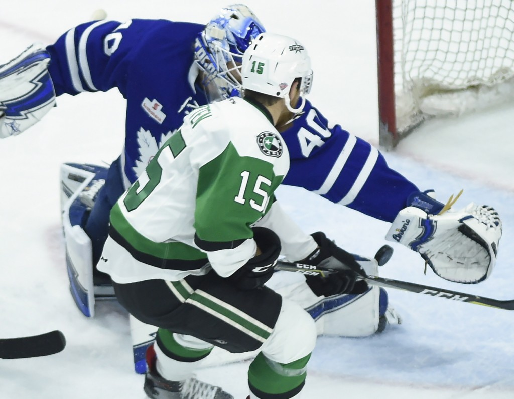 Toronto Marlies goaltender Garret Sparks (40) stops Texas Stars center Austin Fyten (15) during the second period of Game 7 of the AHL Calder Cup fina