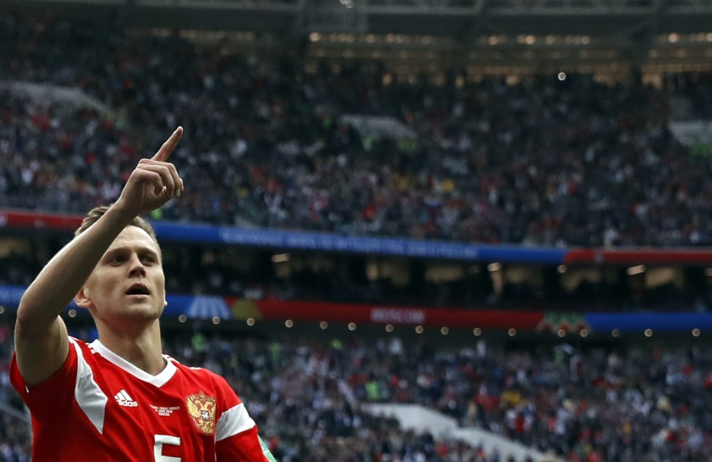 Russia's Denis Cheryshev celebrates after scoring his side's fourth goal during the group A match between Russia and Saudi Arabia which opens the 2018