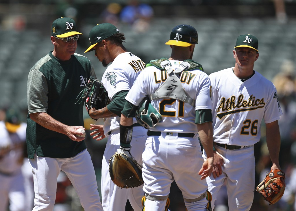 Oakland Athletics manager Bob Melvin, left, takes the ball from pitcher Frankie Montas as he is relieved in the sixth inning of a baseball game agains