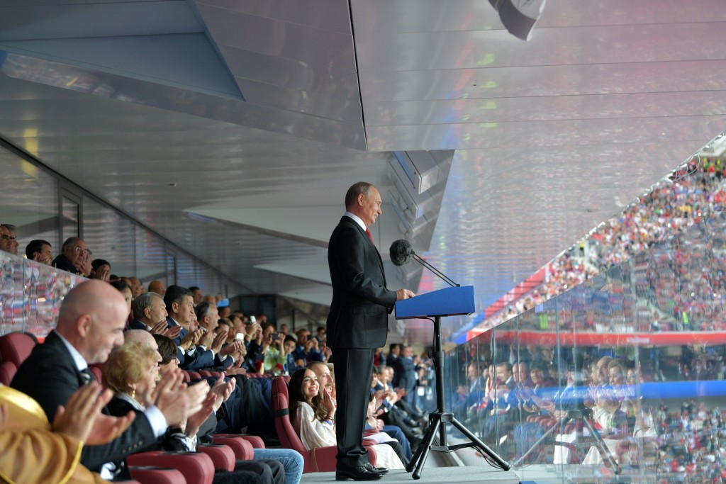 Russian President Vladimir Putin delivers his speech prior to the match between Russia and Saudi Arabia which opens the 2018 soccer World Cup as FIFA