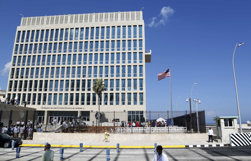 FILE - In this Aug. 14, 2015, file photo, a U.S. flag flies at the U.S. embassy in Havana, Cuba. The United States is renewing calls for the Cuban gov