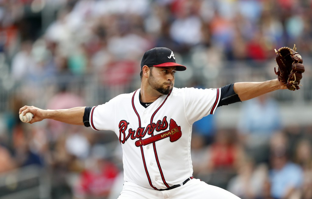 Atlanta Braves starting pitcher Anibal Sanchez winds up during the first inning of the team's baseball game against the San Diego Padres on Thursday,
